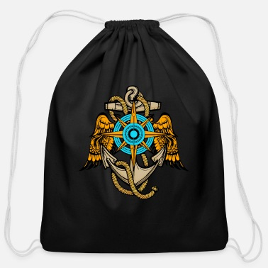 Anchor And Compass Anchor with wings - Cotton Drawstring Bag