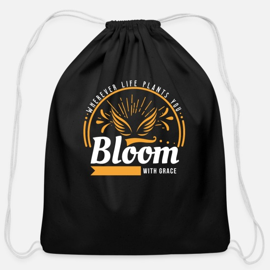 Bloom Bags & Backpacks - Bloom With Grace - Cotton Drawstring Bag black