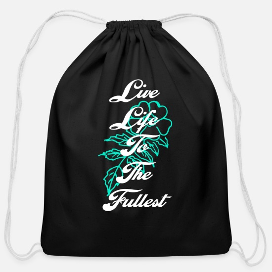 Gift Idea Bags & Backpacks - Live life to the flower girls pretty like it - Cotton Drawstring Bag black