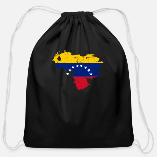 Dictator Bags & Backpacks - I'm American My Heart Beats for Venezuela T-Shirt - Cotton Drawstring Bag black
