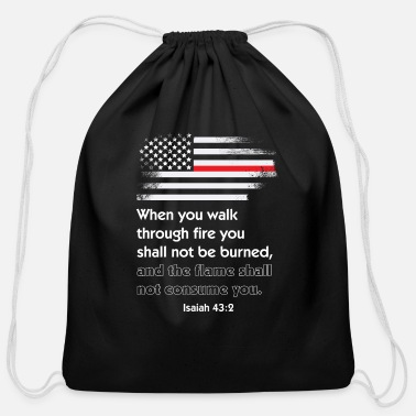 Christian Thin Red Line Firefighter Bible Verse America - Cotton Drawstring Bag
