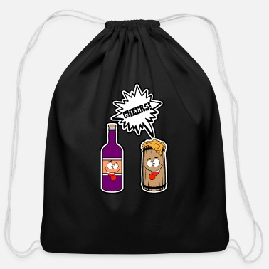 Cheers Beer Wine - Cheers Beer Wine - Cotton Drawstring Bag