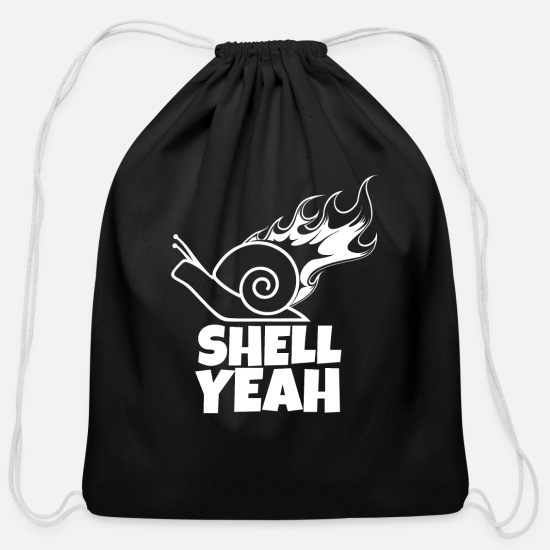 Snail Bags & Backpacks - Snail - Snail - Shell on fire - Cotton Drawstring Bag black