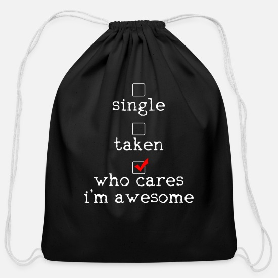 Single Bags & Backpacks - Anti-Valentines Awesome Status - Cotton Drawstring Bag black