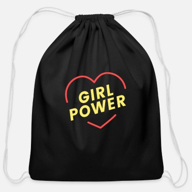 Frauenpower Frauenpower heart black, Geschenk, Geschenkidee - Cotton Drawstring Bag