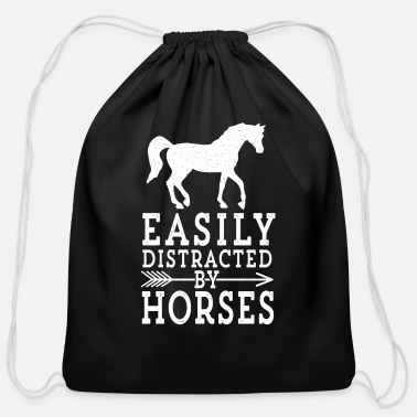 Easily Distracted by Horses Cute Funny Horse - Cotton Drawstring Bag