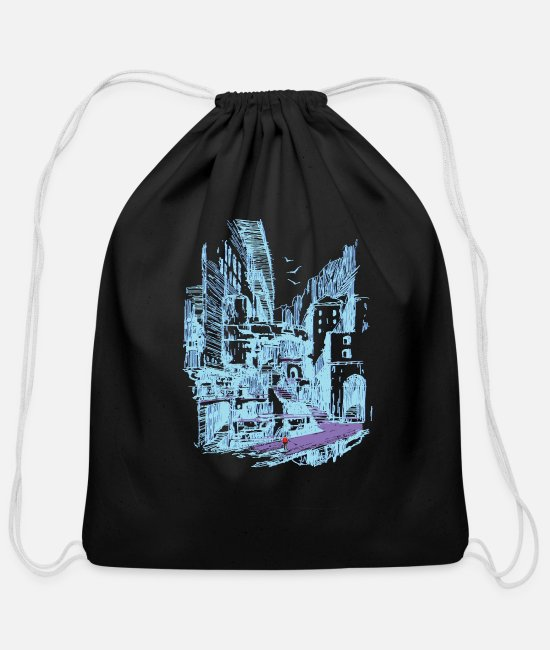 Urban Bags & Backpacks - Vaporwave Cityscape Skyline 80s Aesthetic - Cotton Drawstring Bag black