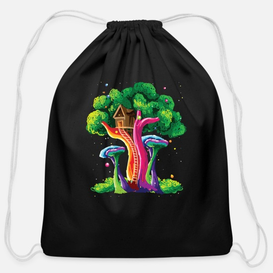 Contest Bags & Backpacks - Colorful Tree Vivid Color Painting Art Gift Idea - Cotton Drawstring Bag black