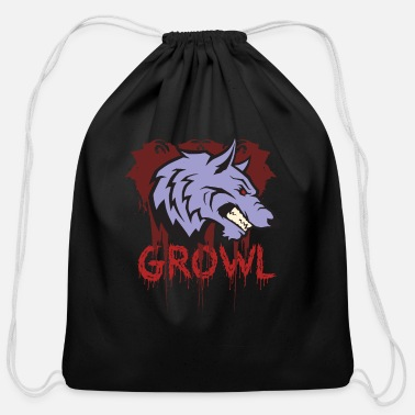 Growl Wolf Growl - Cotton Drawstring Bag