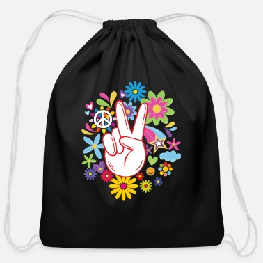 Hippie peace sign flowers heart flower power peace - Cotton Drawstring Bag