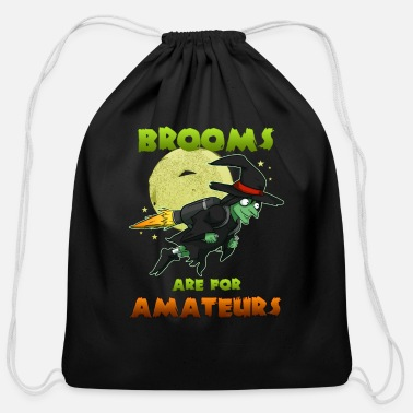 Witch Witch on witch broom - Cotton Drawstring Bag