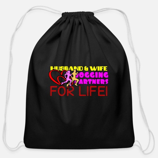 Running Bags & Backpacks - Jogging partner - jogging love - Cotton Drawstring Bag black