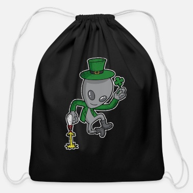 Ireland Irish Alien Leprechaun St Patricks Day Lucky - Cotton Drawstring Bag