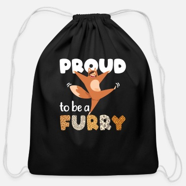 Proud Proud to be a Furry - Cotton Drawstring Bag