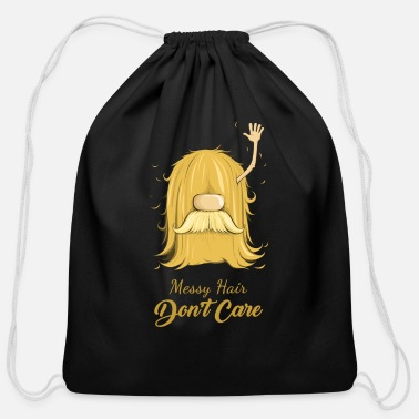 Picture Messy Hair Don't Care - Cotton Drawstring Bag