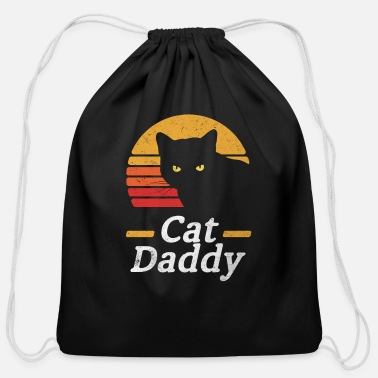 Eighties Cat Daddy Vintage Eighties Style Cat Retro Distres - Cotton Drawstring Bag