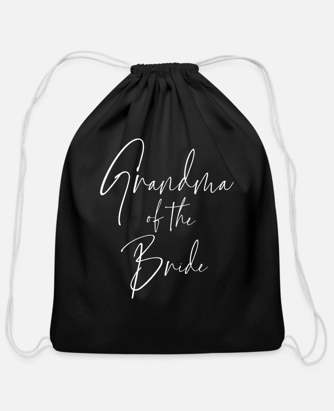 Grandmother Of The Groom Bags & Backpacks - Grandma Of The Bride Wedding Party Family - Cotton Drawstring Bag black