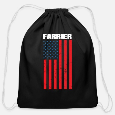 Quotes Farrier Flag Star Horseshoe Hoof Trimming Equine - Cotton Drawstring Bag