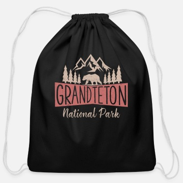 Vintage Grand Teton National Park US Mountains - Cotton Drawstring Bag