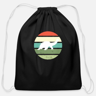 Vintage Retro Dinosaur Sunset - Cotton Drawstring Bag
