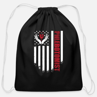 Professor Phlebotomist Flag Heart Symbol Phlebotomy - Cotton Drawstring Bag