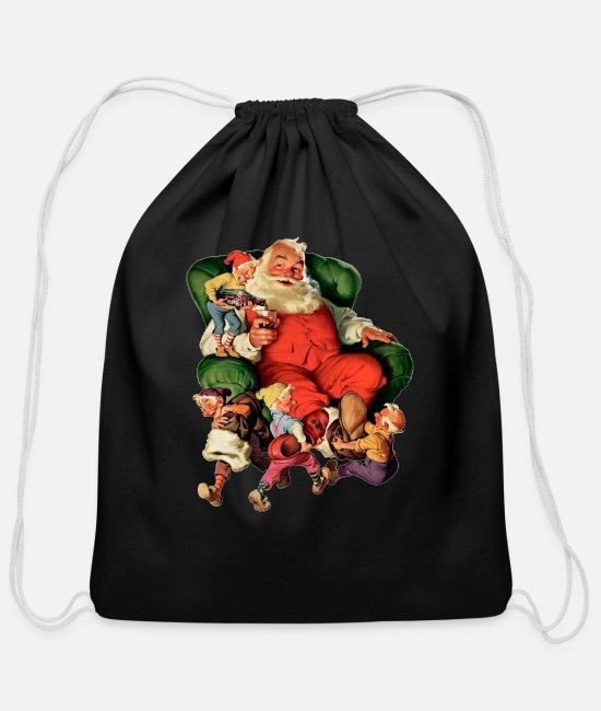 Holidays Bags & Backpacks - SANTA CLAUS - Cotton Drawstring Bag black