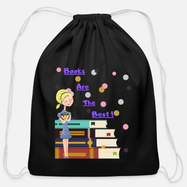 Books Are The Best (pink) - Cotton Drawstring Bag