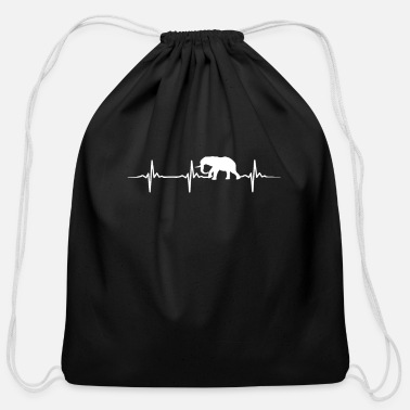 Tusk Elephant Heartbeat - Cotton Drawstring Bag