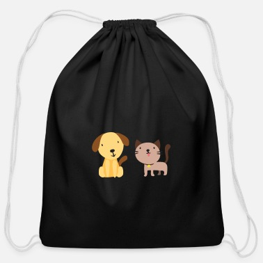 Happiness Cat and dog - Cotton Drawstring Bag