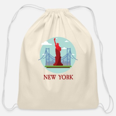 Ny New York City NYC Manhattan Tourist Souvenir - Cotton Drawstring Bag