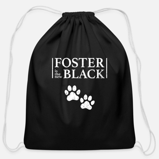 Shelter Bags & Backpacks - Foster is the New Black Shelter Animals Adopt - Cotton Drawstring Bag black