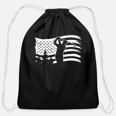 Golf Unique Golf Shirt - American Flag - Cool Golfer Gi - Cotton Drawstring Bag