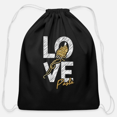Cuisine Pasta Love Motive for a Spaghetti Lover - Cotton Drawstring Bag