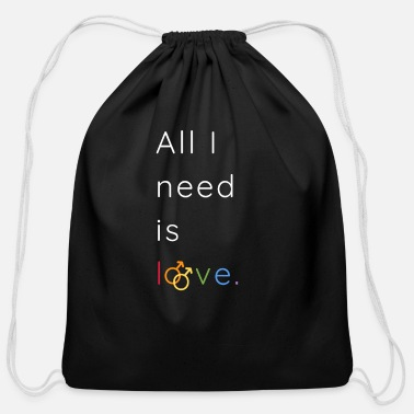 Pride All I need is love and peace | LGBTQI+ | ALLY - Cotton Drawstring Bag