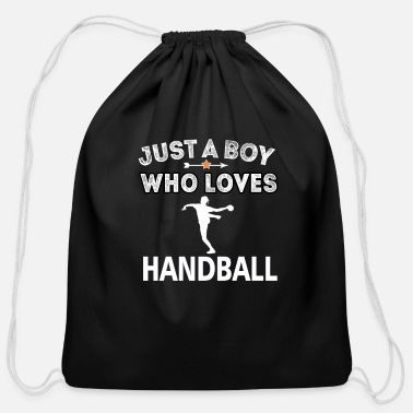 Handball Handball Boy who loves handball jump shot resin - Cotton Drawstring Bag