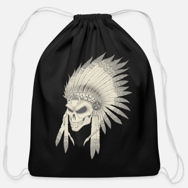 Graphic Art cool graphic Indian Skull - Cotton Drawstring Bag