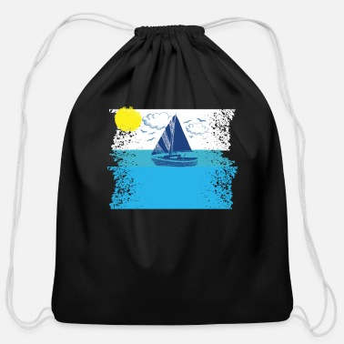 Baltic Sea Sea Baltic waves sailboat - Cotton Drawstring Bag