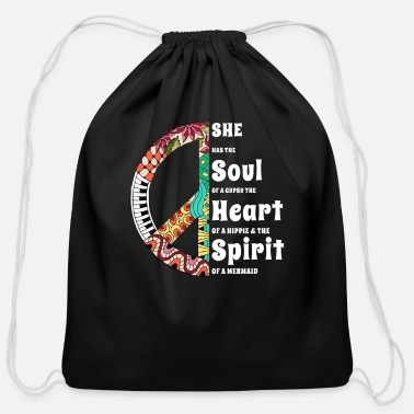 Hippie She Has The Soul Of a Gypsy The Heart Of A Hippie - Cotton Drawstring Bag