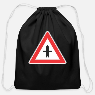 Traffic Light Road_sign_red_triangle_both_side_direction - Cotton Drawstring Bag