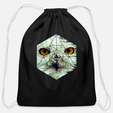 Ast Snow Owl - Cool Graphic Mysterious Wildlife - Cotton Drawstring Bag