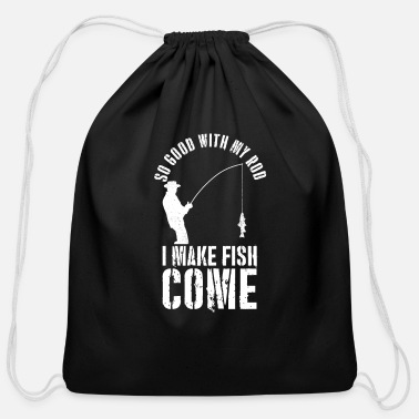 Fishing Rod Fishing Rod Fish Gift Present - Cotton Drawstring Bag