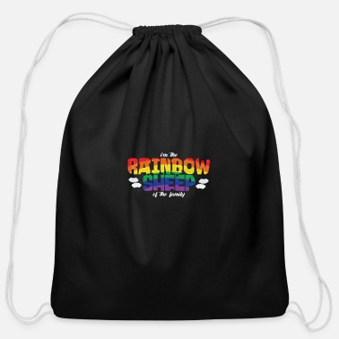 Sheep I'm The Rainbow Sheep of the Family - Cotton Drawstring Bag