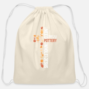 Little Jesus and Pottery Shirt Women Gift Christian - Cotton Drawstring Bag