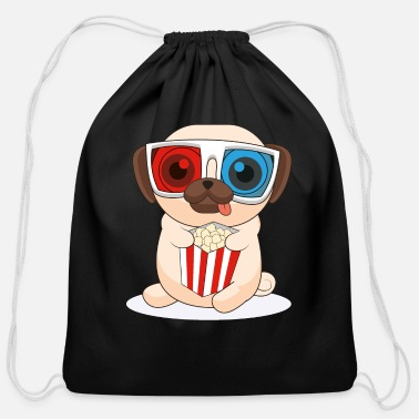 Cinema 3D Pug Dog Cinema Funny Dog - Cotton Drawstring Bag