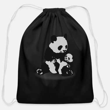 Baby Panda Cute Panda And Baby Panda - Cotton Drawstring Bag