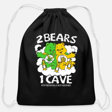 Weed Tent 2 Bears 1 Cave Beer and Weed - Cotton Drawstring Bag