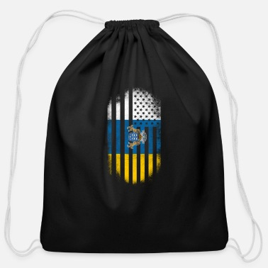 Canary Islands Canary Islander American Flag Canary Islands and USA Design - Cotton Drawstring Bag