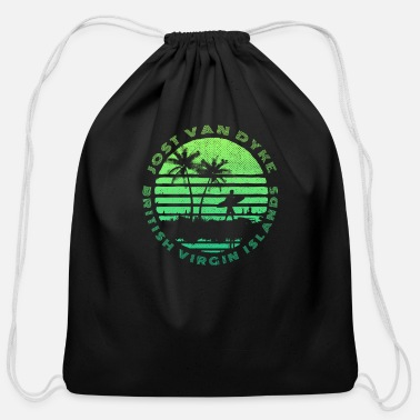 Dyke Jost Van Dyke Surfing Sun and Palms Design - Cotton Drawstring Bag
