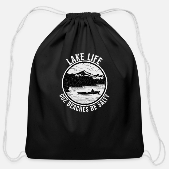Lake Bags & Backpacks - Lake Life Cuz Beaches Be Salty Lake Vibes - Cotton Drawstring Bag black