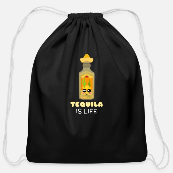 Tequila Bags & Backpacks - Tequila Is Life Cute Tequila Pun - Cotton Drawstring Bag black